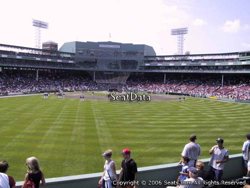Seat view from bleacher section BL 36 at Fenway Park, home of the Boston Red Sox