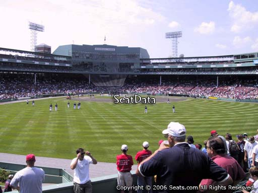 Seat view from bleacher section BL 37 at Fenway Park, home of the Boston Red Sox