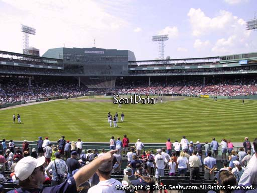 Seat view from bleacher section BL 39 at Fenway Park, home of the Boston Red Sox
