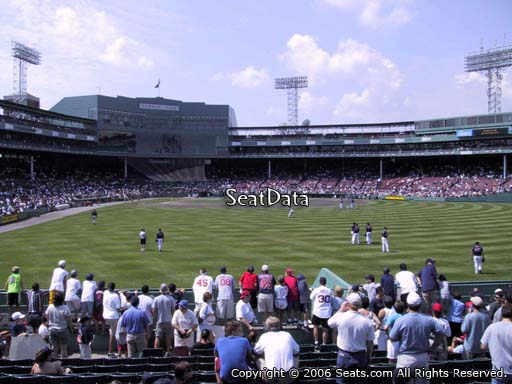 Seat view from bleacher section BL 42 at Fenway Park, home of the Boston Red Sox