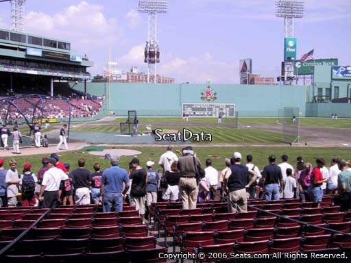 Seat view from field box section 34 at Fenway Park, home of the Boston Red Sox