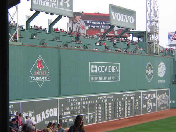 Photo of the Green Monster Seats at Fenway Park