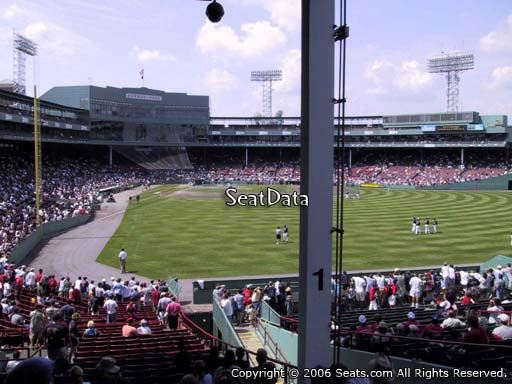 Seat view from Grandstand section 1 at Fenway Park, home of the Boston Red Sox
