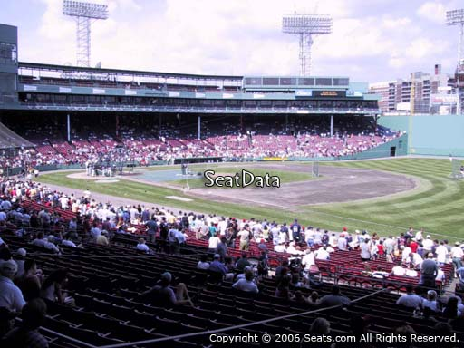 Seat view from Grandstand section 11 at Fenway Park, home of the Boston Red Sox