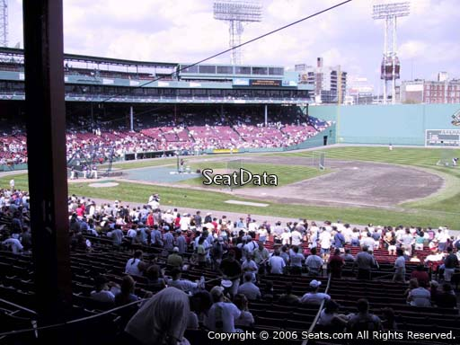 Seat view from Grandstand section 13 at Fenway Park, home of the Boston Red Sox