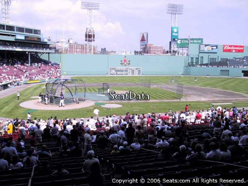 Seat view from Grandstand section 17 at Fenway Park, home of the Boston Red Sox