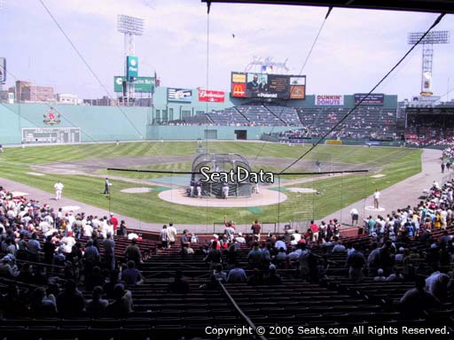 Seat view from Grandstand section 21 at Fenway Park, home of the Boston Red Sox