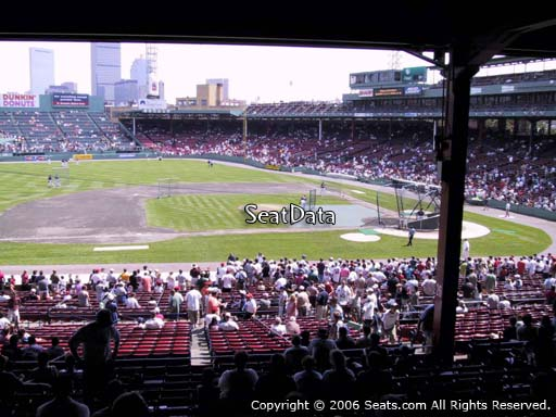 Seat view from Grandstand section 26 at Fenway Park, home of the Boston Red Sox