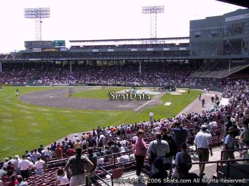 Seat view from Grandstand section 32 at Fenway Park, home of the Boston Red Sox