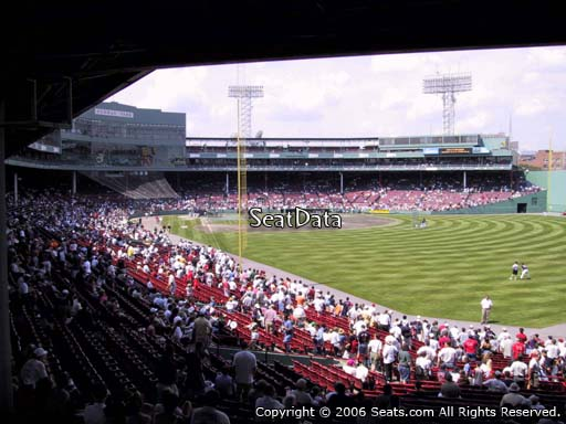 Seat view from Grandstand section 4 at Fenway Park, home of the Boston Red Sox