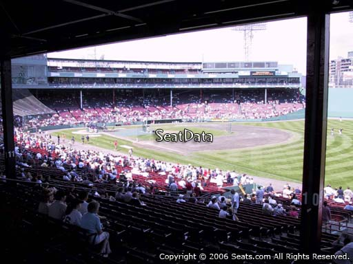 Seat view from Grandstand section 9 at Fenway Park, home of the Boston Red Sox