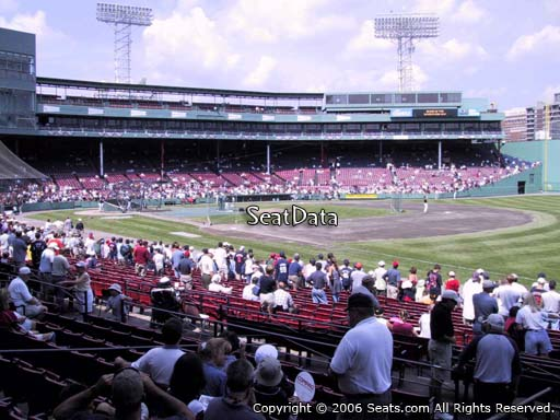 Seat view from loge box section 98 at Fenway Park, home of the Boston Red Sox