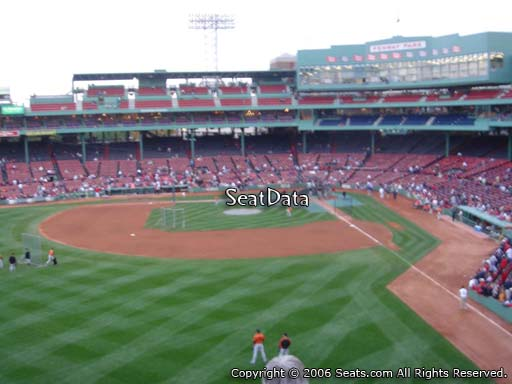 Seat view from Green Monster section M3 at Fenway Park, home of the Boston Red Sox