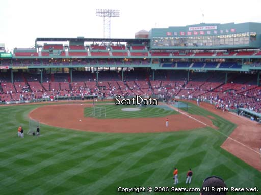 Seat view from Green Monster section M4 at Fenway Park, home of the Boston Red Sox