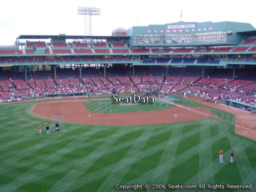 Seat view from Green Monster section M6 at Fenway Park, home of the Boston Red Sox