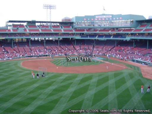 Seat view from Green Monster section M7 at Fenway Park, home of the Boston Red Sox