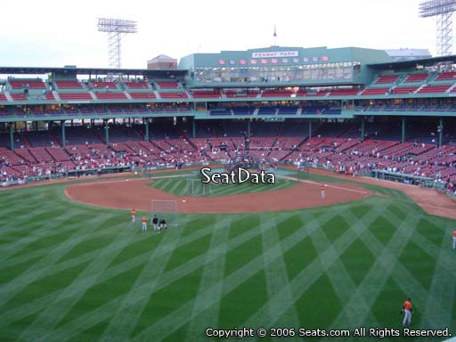 Seat view from Green Monster section M9 at Fenway Park, home of the Boston Red Sox