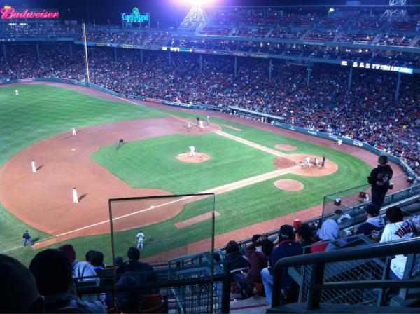 Seat view from PB 12 at Fenway Park, home of the Boston Red Sox