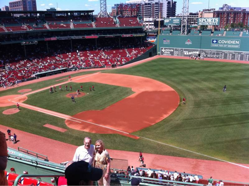 Seat view from PB 13 at Fenway Park, home of the Boston Red Sox