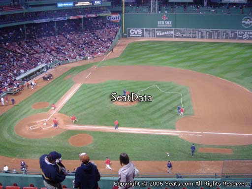 Seat view from PB 5 at Fenway Park, home of the Boston Red Sox