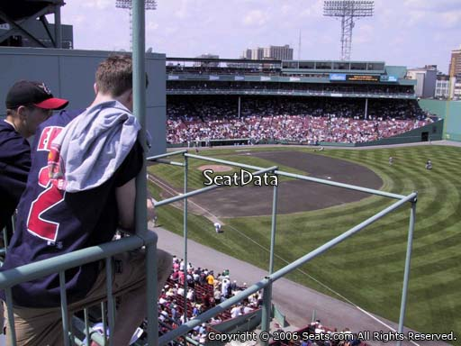 Seat view from Roof Box 23 at Fenway Park, home of the Boston Red Sox