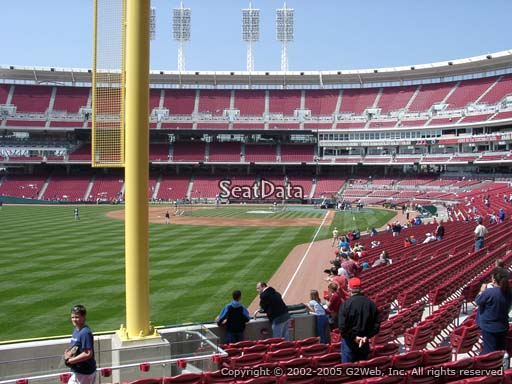 Seat view from section 107 at Great American Ball Park, home of the Cincinnati Reds