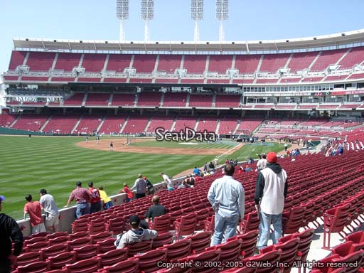 Seat view from section 108 at Great American Ball Park, home of the Cincinnati Reds
