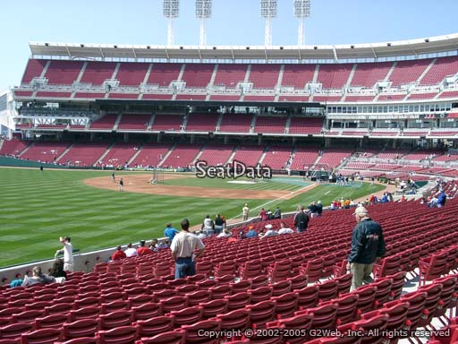 Seat view from section 109 at Great American Ball Park, home of the Cincinnati Reds