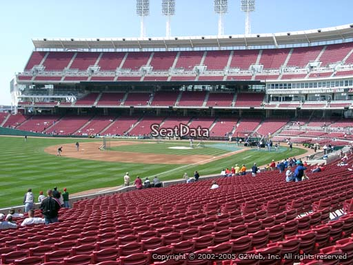 Seat view from section 110 at Great American Ball Park, home of the Cincinnati Reds