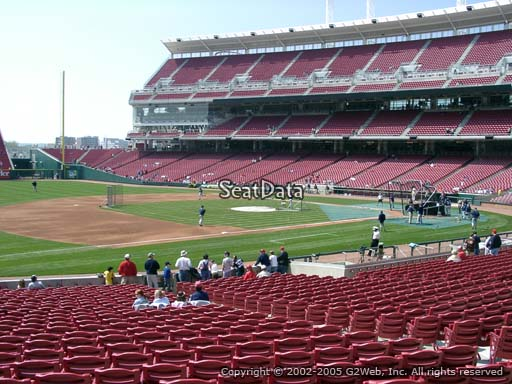 Seat view from section 113 at Great American Ball Park, home of the Cincinnati Reds
