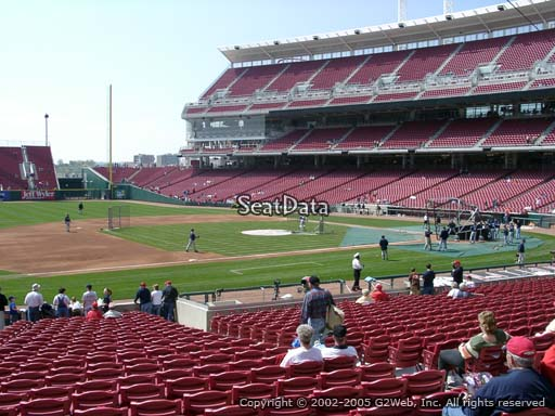 Seat view from section 114 at Great American Ball Park, home of the Cincinnati Reds