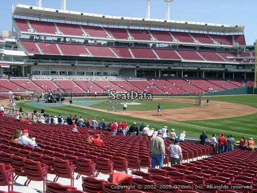 Seat view from section 134 at Great American Ball Park, home of the Cincinnati Reds