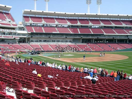 Seat view from section 135 at Great American Ball Park, home of the Cincinnati Reds