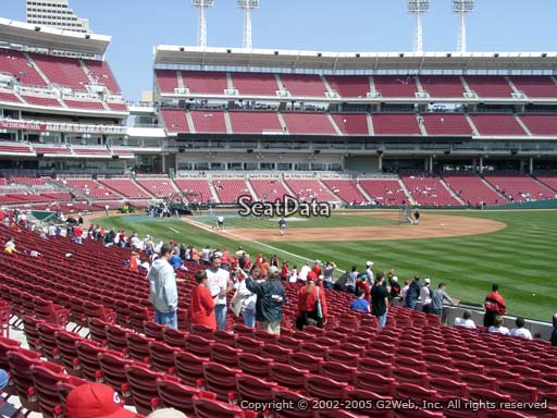 Seat view from section 136 at Great American Ball Park, home of the Cincinnati Reds