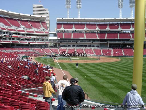 Seat view from section 139 at Great American Ball Park, home of the Cincinnati Reds