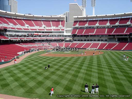 Seat view from section 142 at Great American Ball Park, home of the Cincinnati Reds