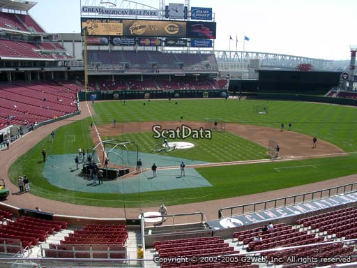 Seat view from section 227 at Great American Ball Park, home of the Cincinnati Reds