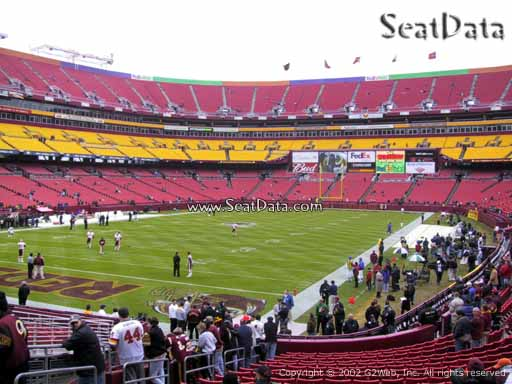 Seat view from section 108 at Fedex Field, home of the Washington Redskins