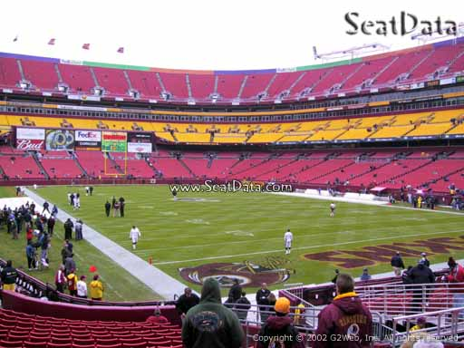 Seat view from section 114 at Fedex Field, home of the Washington Redskins