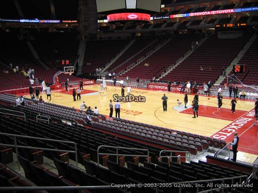 Seat view from section 104 at the Toyota Center, home of the Houston Rockets