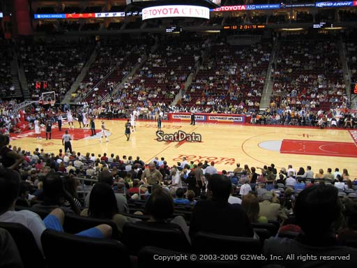 Seat view from section 106 at the Toyota Center, home of the Houston Rockets