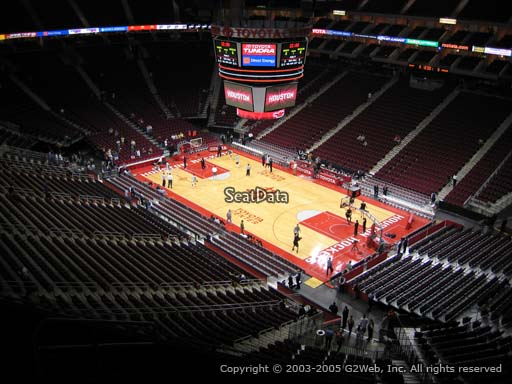 Seat view from section 405 at the Toyota Center, home of the Houston Rockets