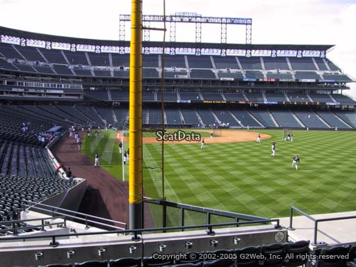 Seat view from section 109 at Coors Field, home of the Colorado Rockies