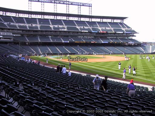 Seat view from section 114 at Coors Field, home of the Colorado Rockies
