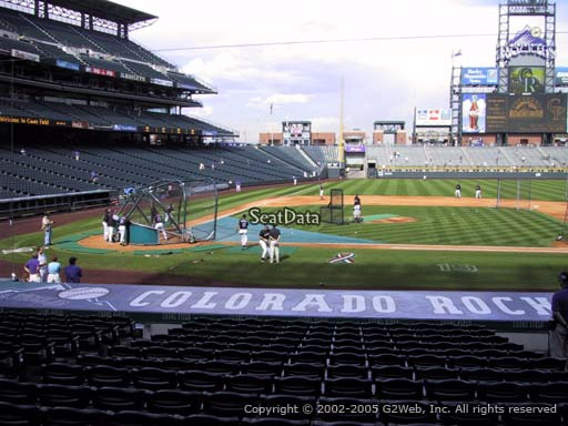 Seat view from section 124 at Coors Field, home of the Colorado Rockies
