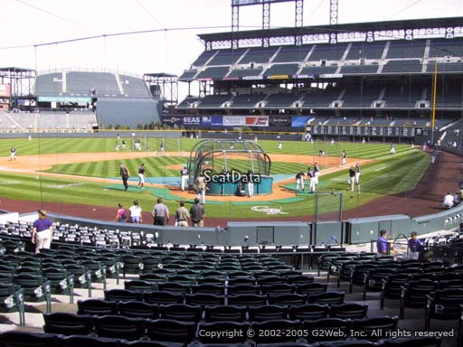 Seat view from section 132 at Coors Field, home of the Colorado Rockies