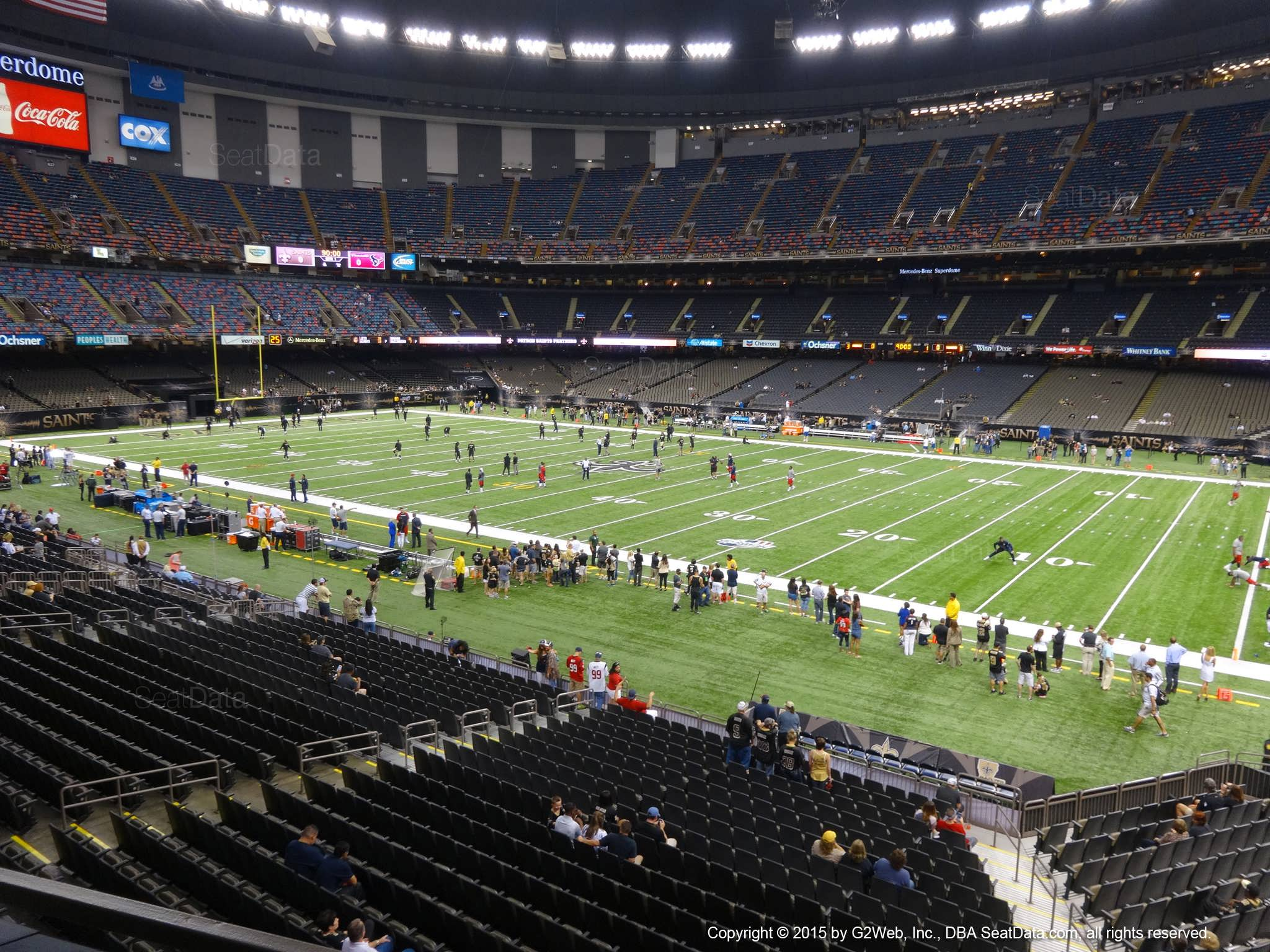 Seat view from section 213 at the Mercedes-Benz Superdome, home of the New Orleans Saints