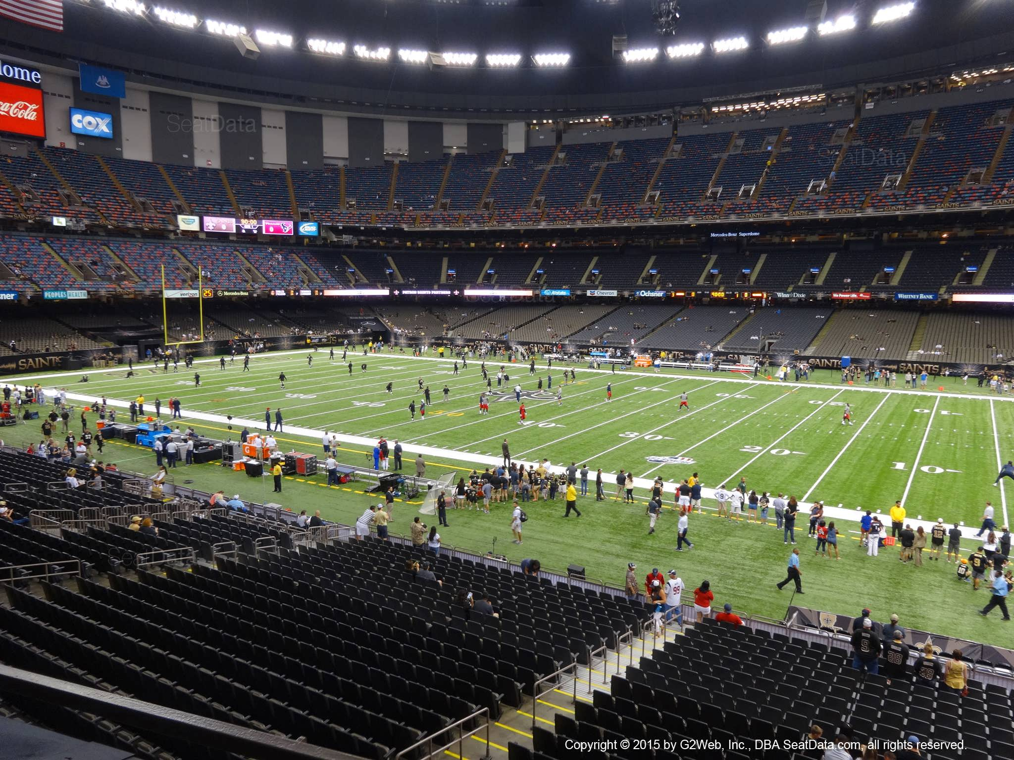 Seat view from section 215 at the Mercedes-Benz Superdome, home of the New Orleans Saints