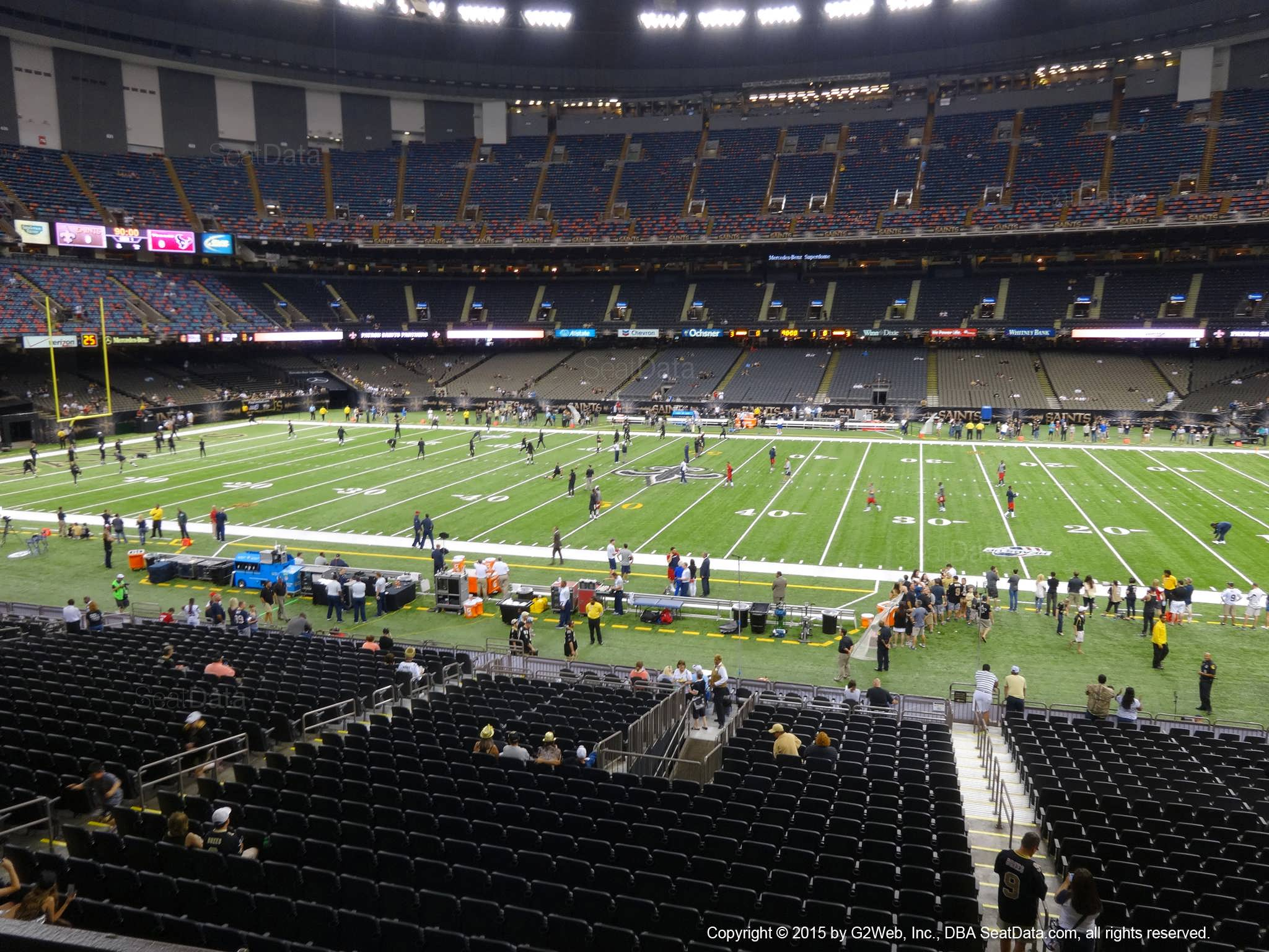 Seat view from section 219 at the Mercedes-Benz Superdome, home of the New Orleans Saints
