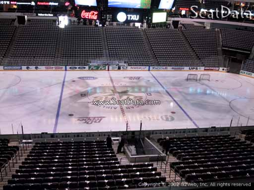 Seat view from section 218 at the American Airlines Center, home of the Dallas Stars